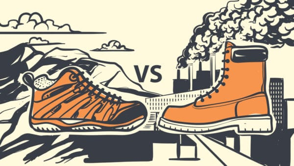 Hiking Boots vs Work Boots What s the Difference Cartoon of hiking boots and work boots next to each other
