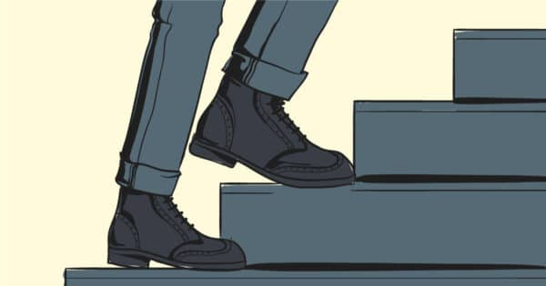 How Should Boots Fit Cartoon of man walking up stairs wearing boots and jeans FB