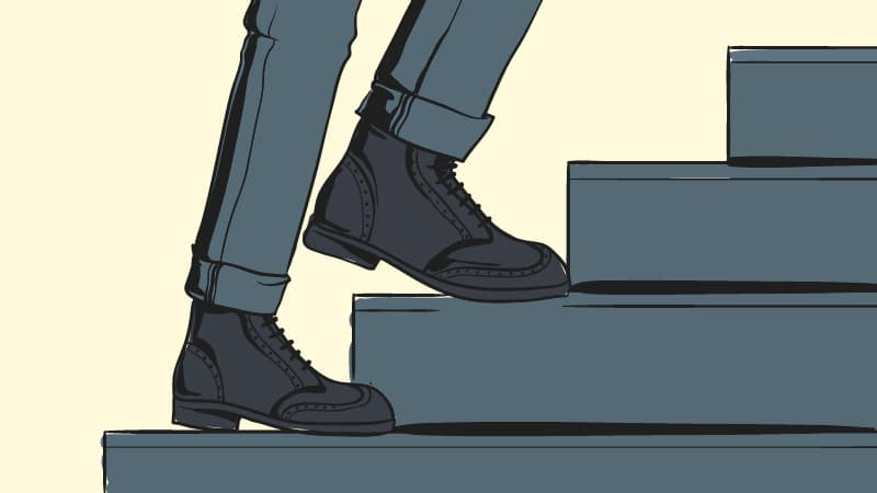 How Should Boots Fit Cartoon of man walking up stairs wearing boots and jeans
