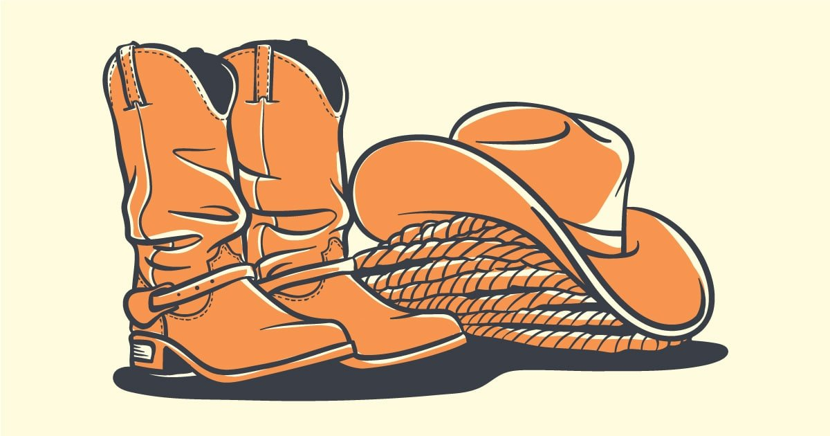 How Should Cowboy Boots Fit Cartoon Graphic of Cowboy Boots Sitting Next to Cowboy Hat and Rop FB