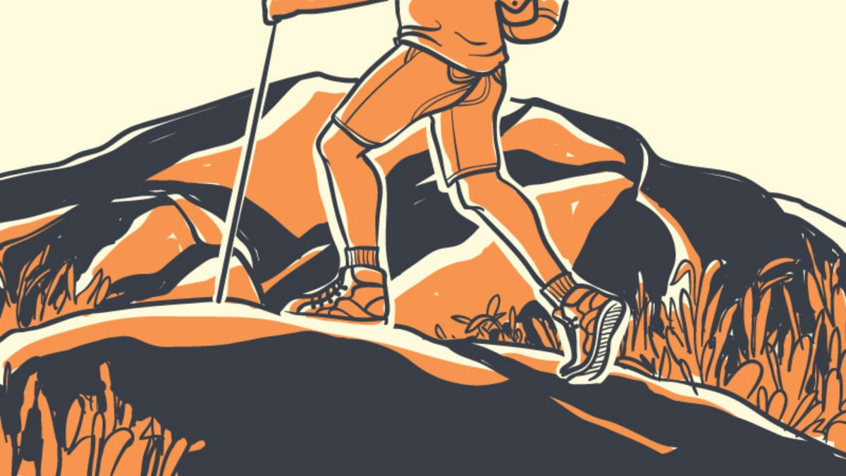 How Should Hiking Boots Fit Cartoon graphic of man hiking Outside