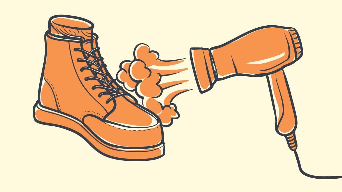 How to Shrink Leather Boots Cartoon of Hairdryer Drying Rubber Boots Blank Background