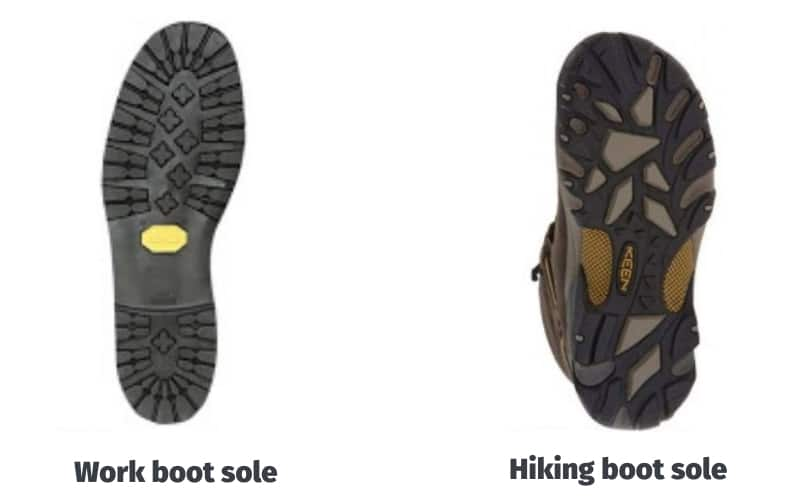 Work boot sole vs hiking boot sole image comparison 1