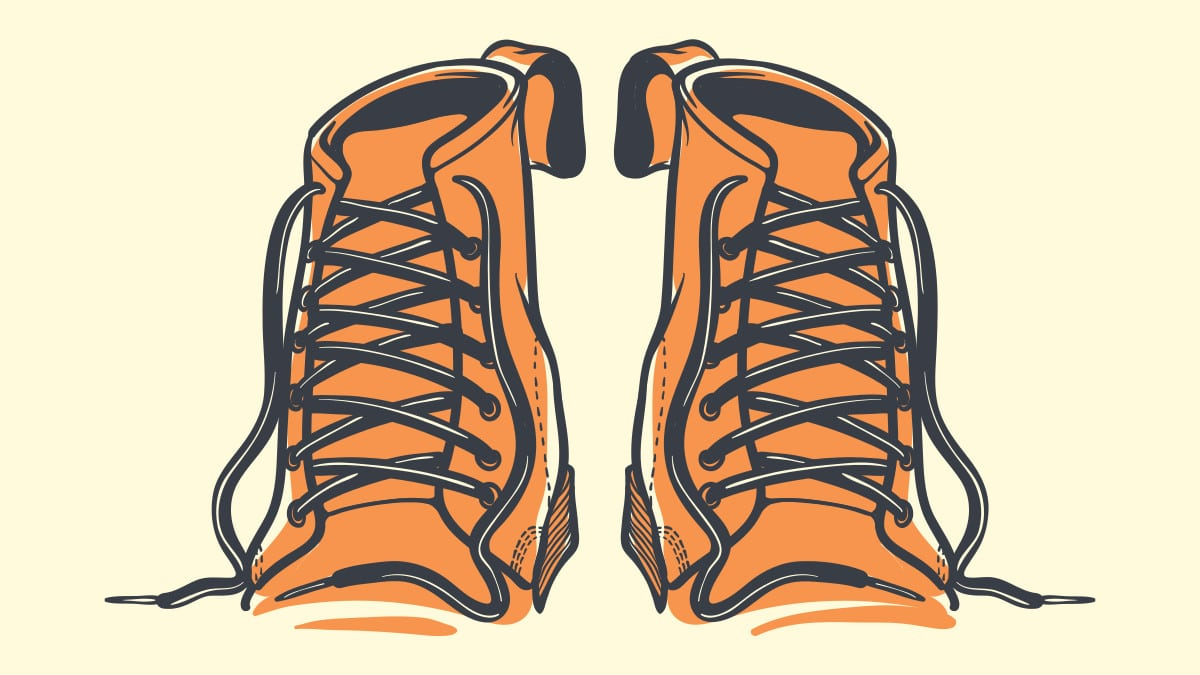 How to Lace Boots Cartoon of Boot Laces Front On