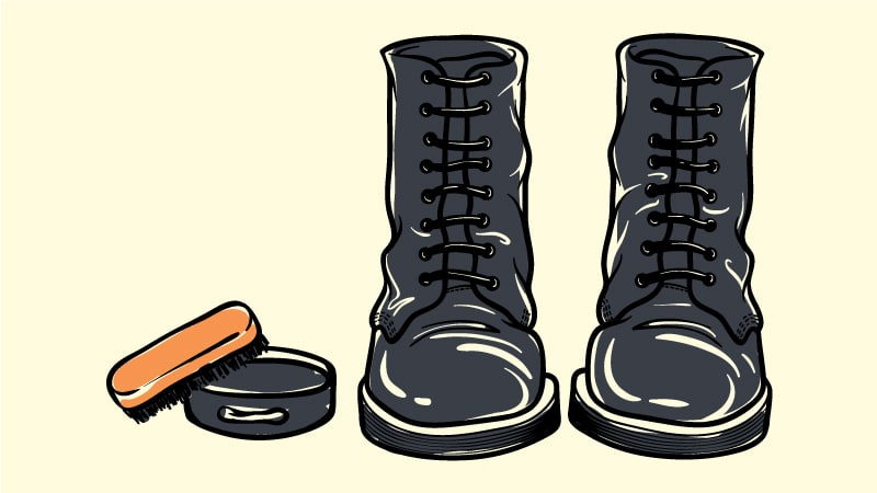How to Polish Boots Cartoon Drawing of Boots with Polish and Brush Next to Them
