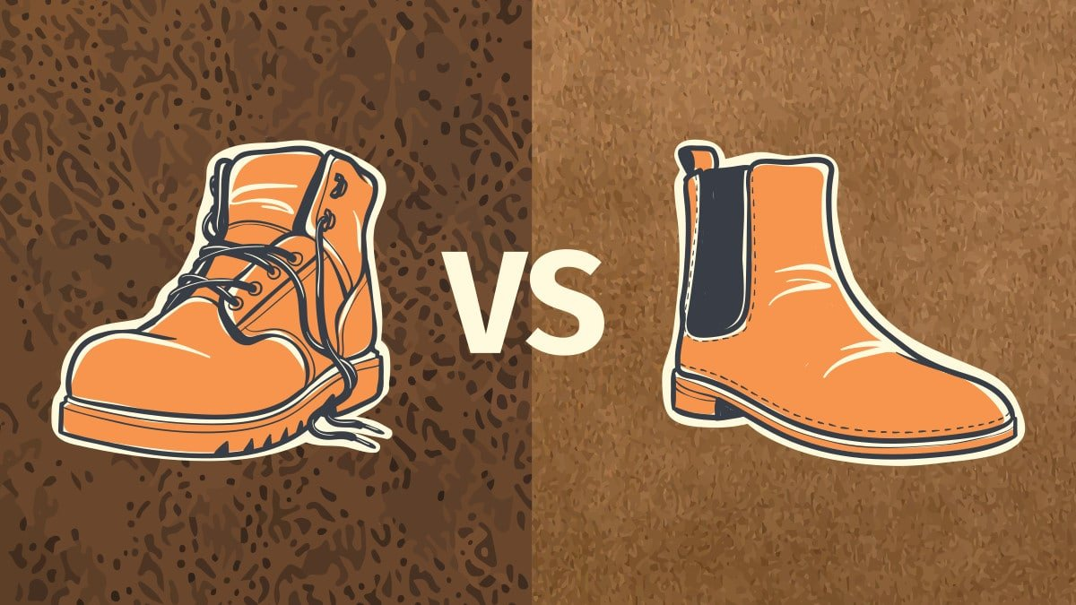 Nubuck vs Suede What s The Difference Cartoon of Nubuck boot on one side with nubuck background and suede boot on the other with suede background