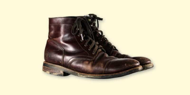 Thursday Boots Captain Review Product Shot of Thursday Boots Captain in Brown Worn on Blank Background copy Twitter Post 1