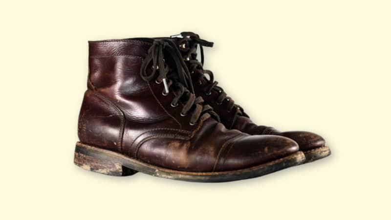 Thursday Boots Captain Review  Product Shot of Thursday Boots Captain in Brown Worn on Blank Background copy