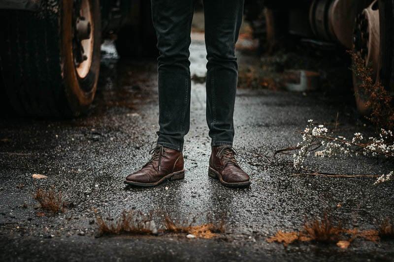 Thursday captain boots on wet ground