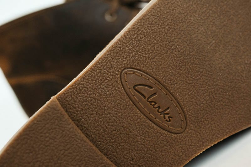 closeup of clarks rubber sole on bushacre 2 chukka boot