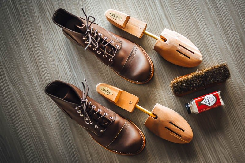 Red Wing Iron Ranger with cedar shoe trees and leather balm