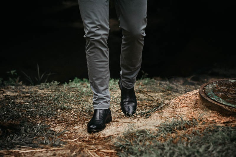 ace marks troy chelsea boot with grey chinos