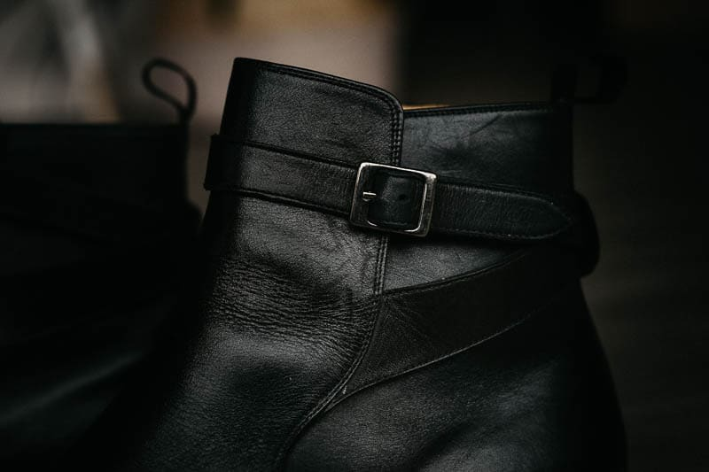closeup beckett simonon black leather buckle on douglas jodhpur