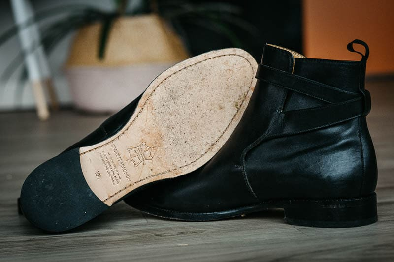closeup beckett simonon douglas jodhpur boot leather sole