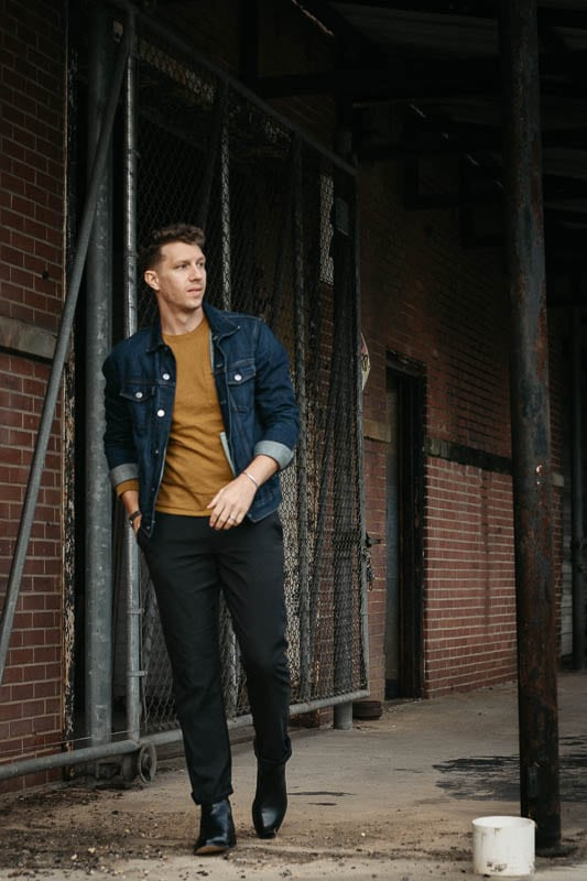 model wearing beckett simonon jodhpur boot black with denim jacket