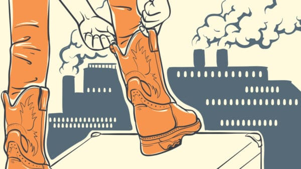 6 Best Pull On Work Boots Cartoon of a man pulling on work boots with a factory in background