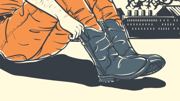 How To Break In Work Boots  Cartoon Graphic if Worker Pulling Up Work Boots on Ground Next to Factory