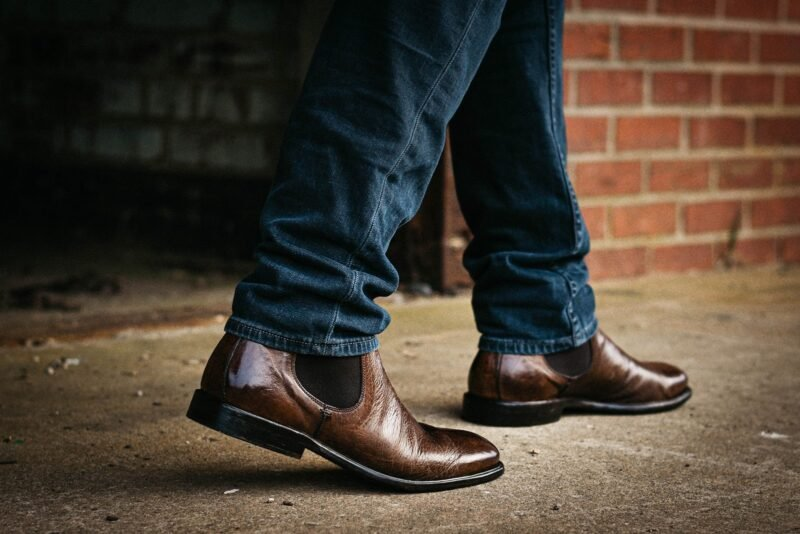 MGemi dritto chelsea boot model wearing chelsea boot and jeans