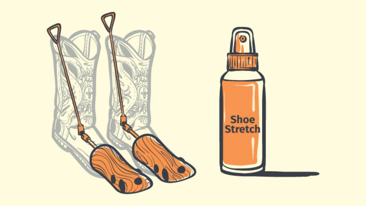 Stretching Calf Boots cartoon of a boot stretcher inside a boot and shoe stretch on side