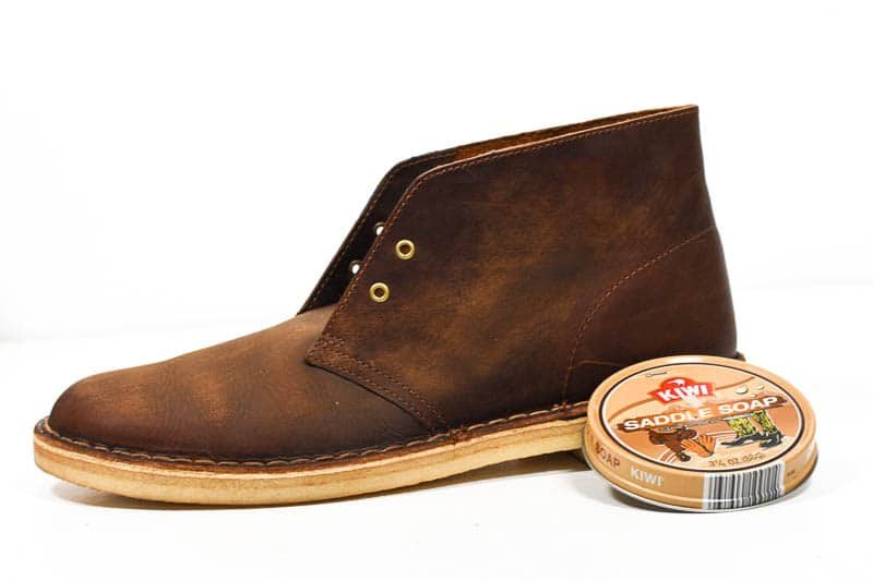 profile of boot treated with saddle soap