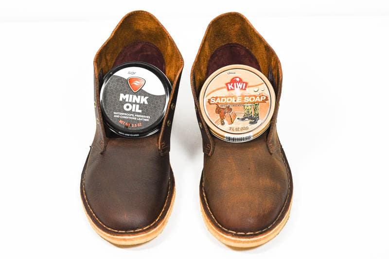 top down view of the difference between mink oil and saddle soap