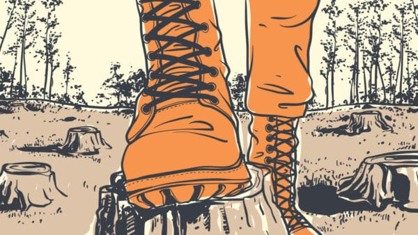 Best Logger Boots Cartoon of a Man standing with logger boot on tree trunk in forest