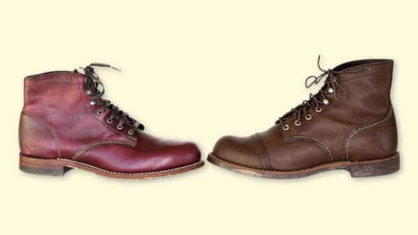 Red Wing Iron Ranger vs Wolverine 1000 Mile  Two Worn Boots Head to Head on Blank Background