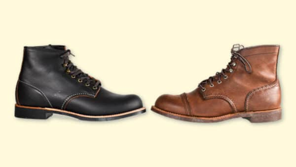 Red Wing Blacksmith vs Iron Ranger Both Boots Side by Side on Plain Background