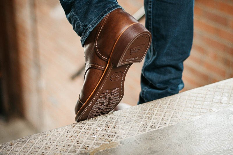 Red Wing Iron Ranger vibram sole walking down stairs