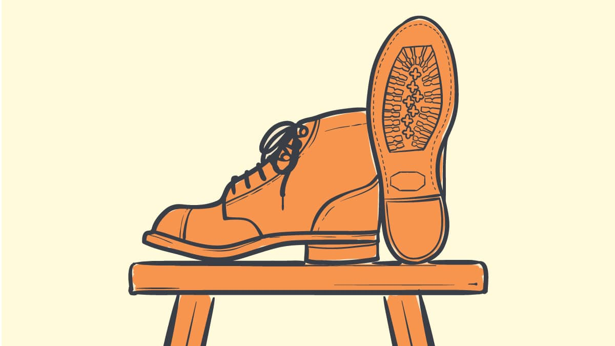 Best Vibram Boots Drawing of a Pair of Boots on a Chair with one showing vibram sole