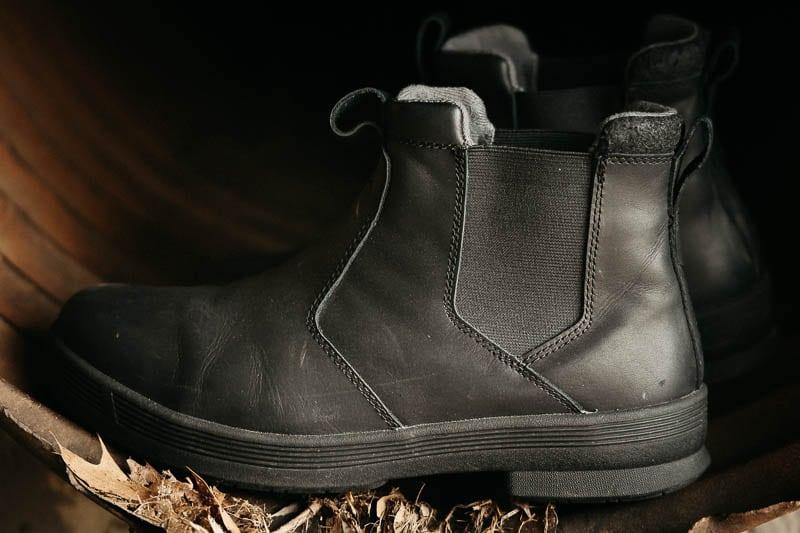 Kodiak Boots rover against rusty metal