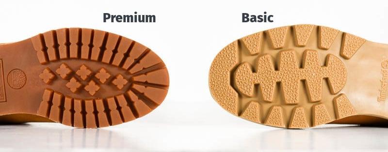 Timberland basic vs premium sole comparison diagram