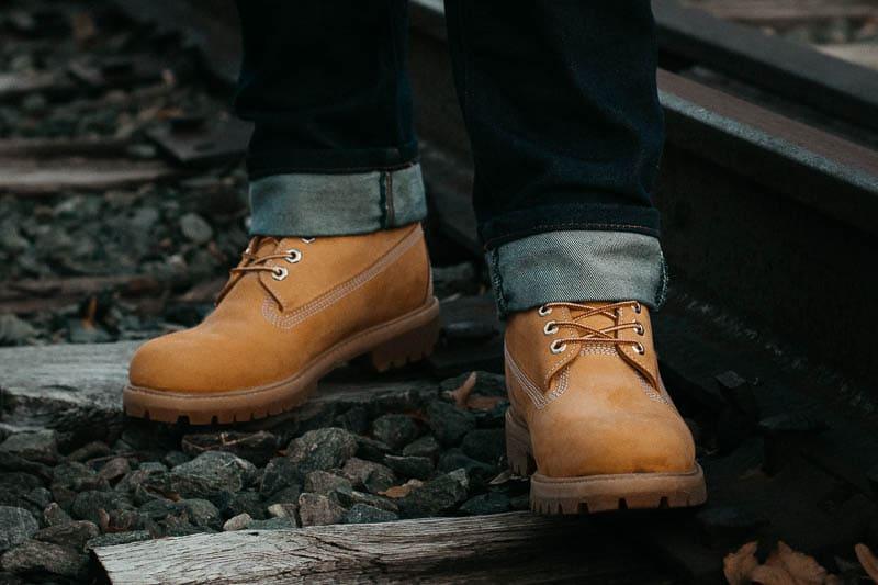 closeup of timberland premium boots