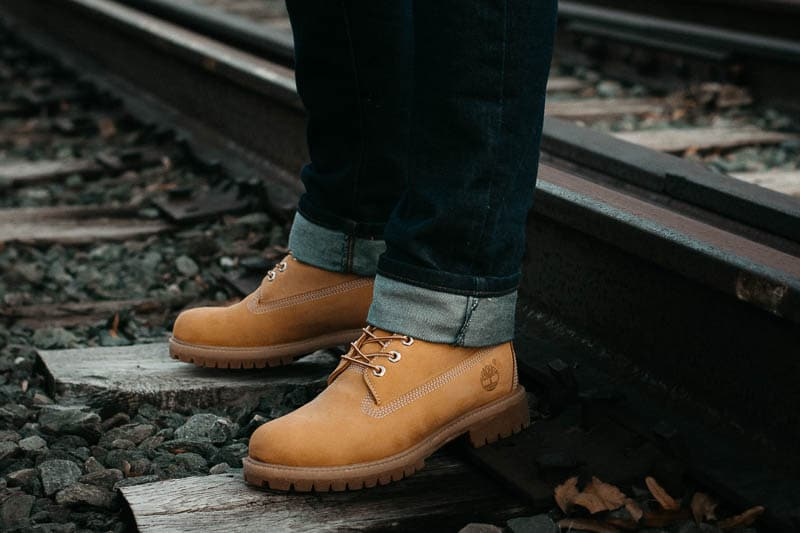 model wearing timberland six inch waterproof boots