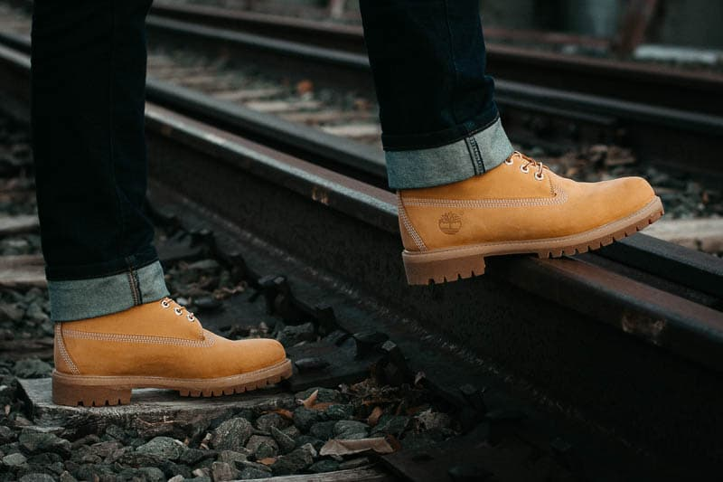 profile view of timberland premium boots