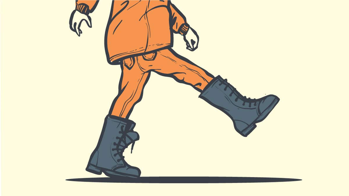 Boots too Big Cartoon Drawing of Man in Oversized Boots Walking