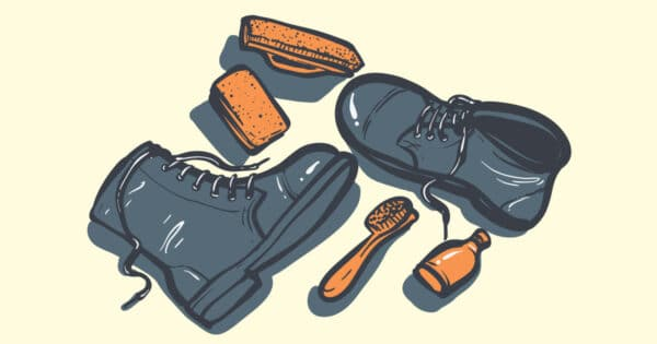 How to clean leather boots cartoon top down graphic of boots and leather cleaning supplies