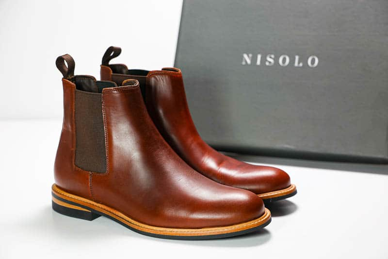 Nisolo javier chelsea boot on white background
