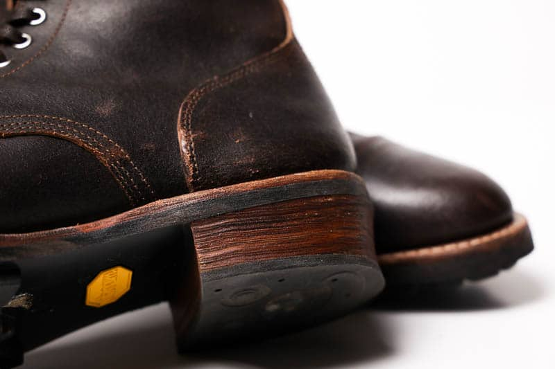 Thursday Boots Logger cuban stacked leather heel closeup
