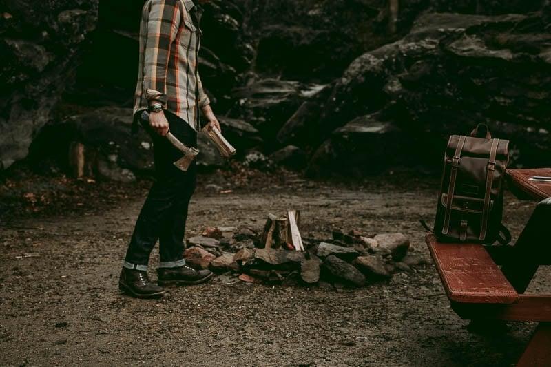 Thursday Boots Logger near campfire
