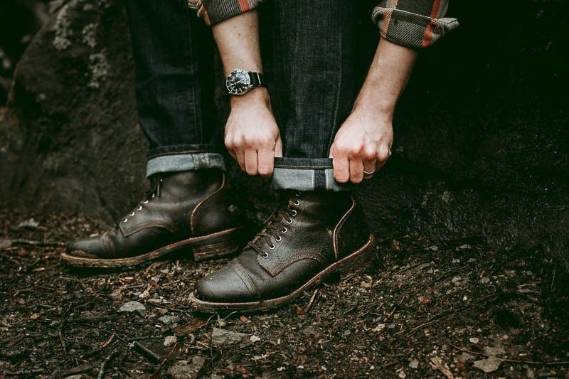 Thursday Boots Logger with cuffed slub denim