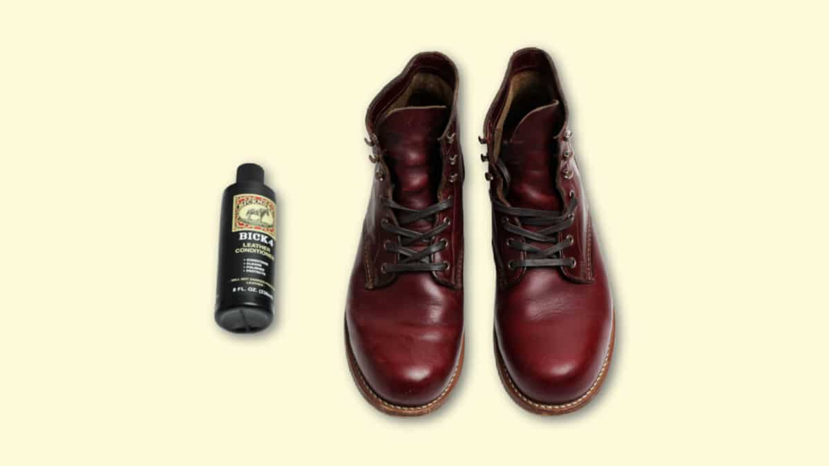 Bick 4 Leather Conditioner Review Bick 4 Next to Leather Boots on Blank Background