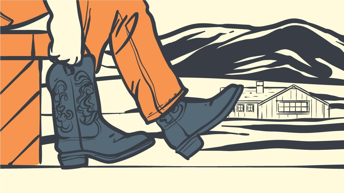 How to break in cowboy boots cartoon drawing of man trying ot fit in cowboy boots with ranch background
