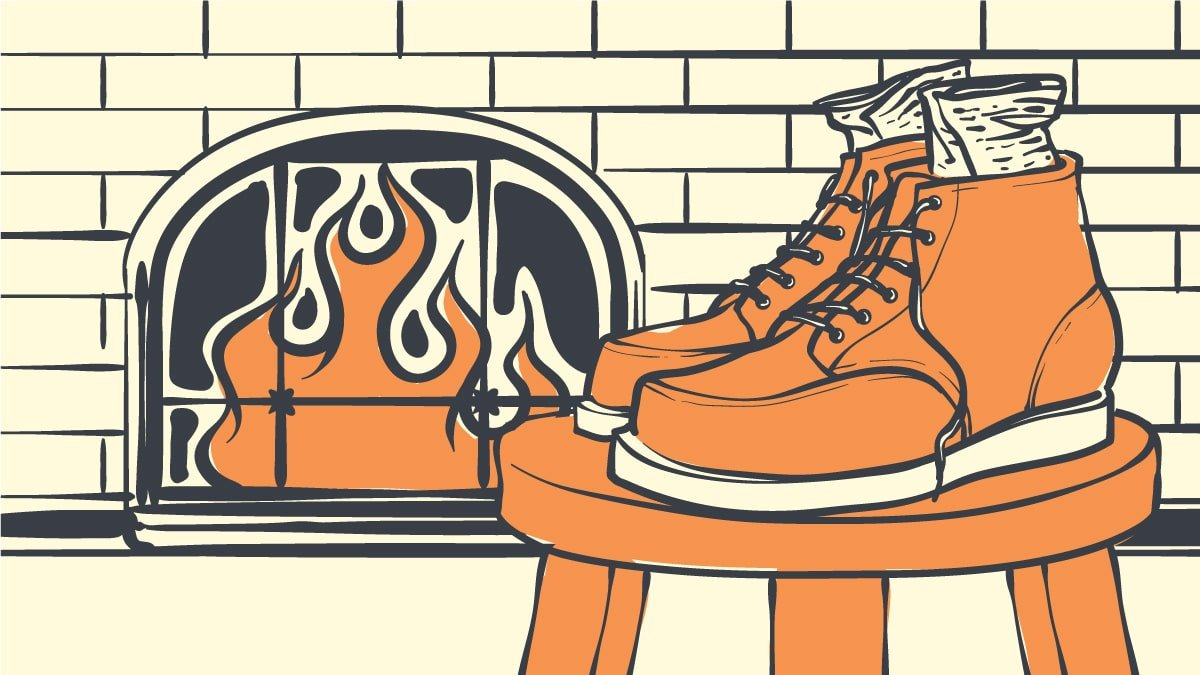 How to dry boots Cartoon image of boots drying next to fireplace