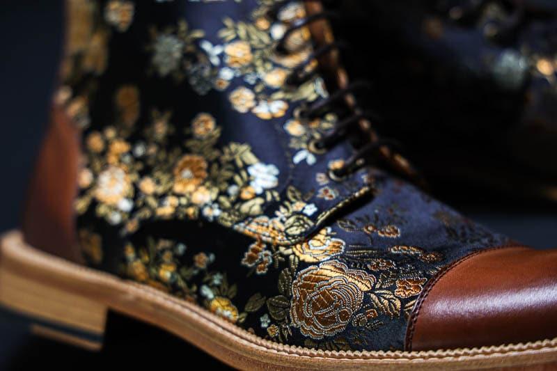 Taft Jack boot jacquard stiching closeup