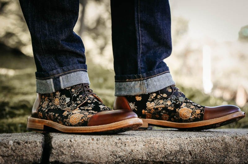 Taft Jack boot on foot with cuffed denim