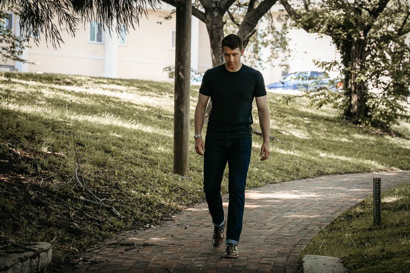 model walking in Taft Jack boot