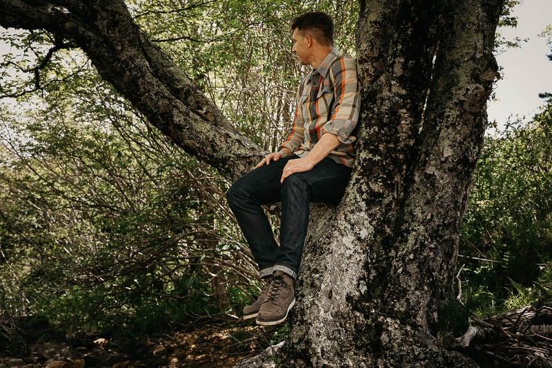 Red Wing Moc Toe on model in tree