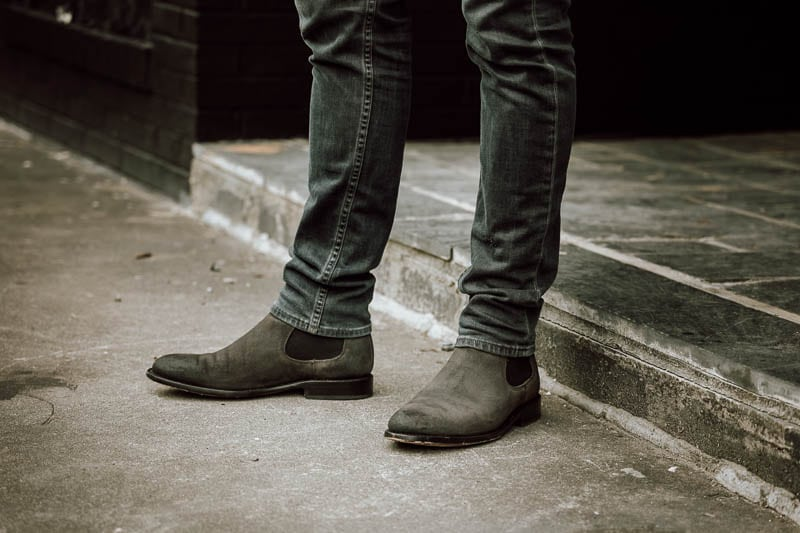 Thursday Boots Cavalier closeup shadow grey suede