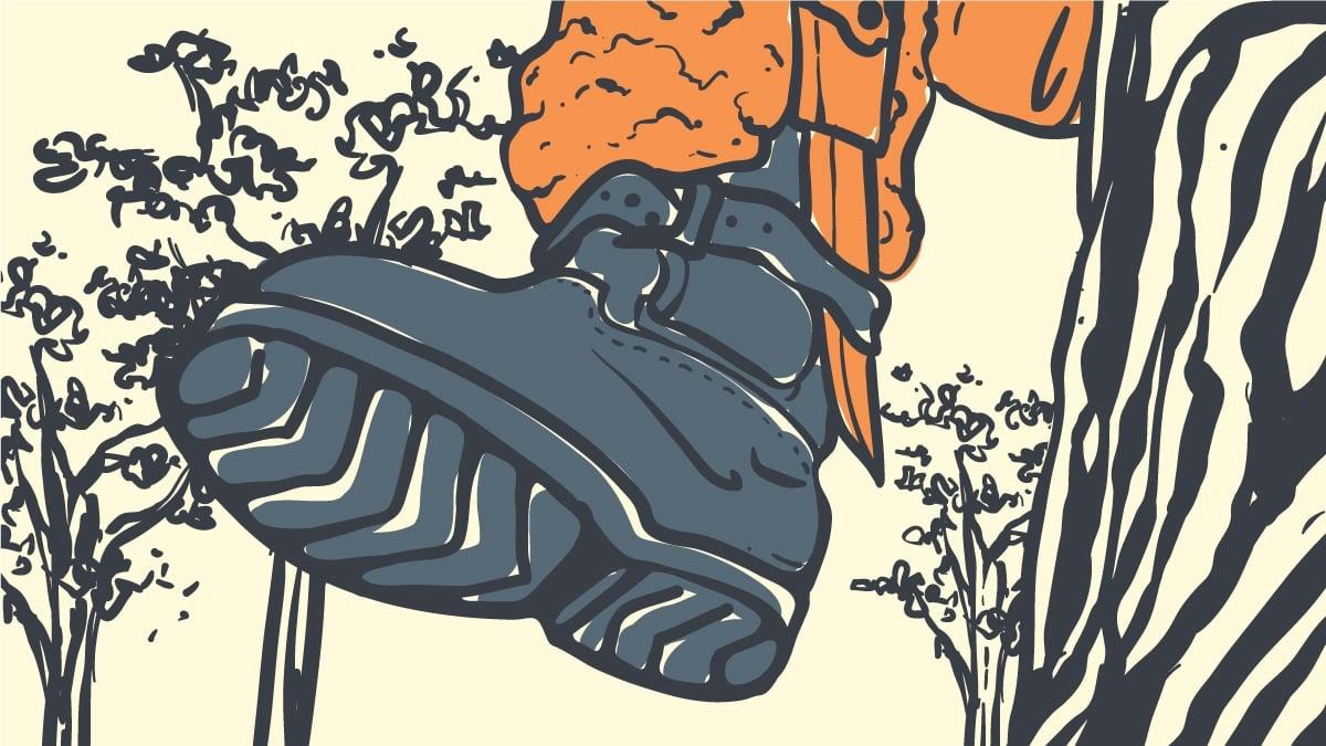 Best Tree Climbing Boots Cartoon Drawing of Man Climbing Tree with Climbing Boots